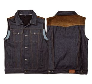 CHALECO ROKKER MIXED DENIM