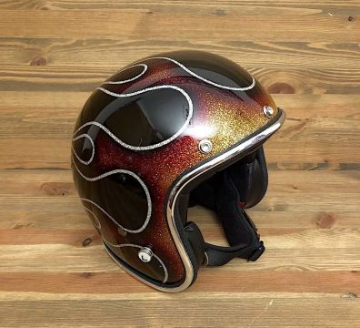 CASCO SEVENTIES FLAMES 14 GLOSSY BLACK & RED