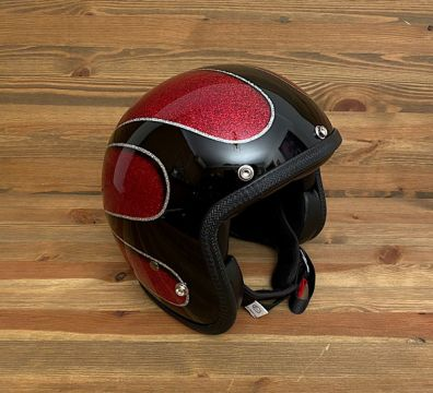 CASCO SEVENTIES SCALLOPS 16 SOLID BLACK & RED