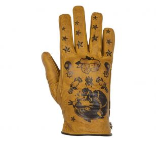 HELSTONS PANTHER WOMENS LEATHER GLOVES - GOLD