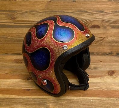 CASCO SEVENTIES FLAMES 2020 BLUE AND REAL FLAMES WITH PINSTRIPING GOLD